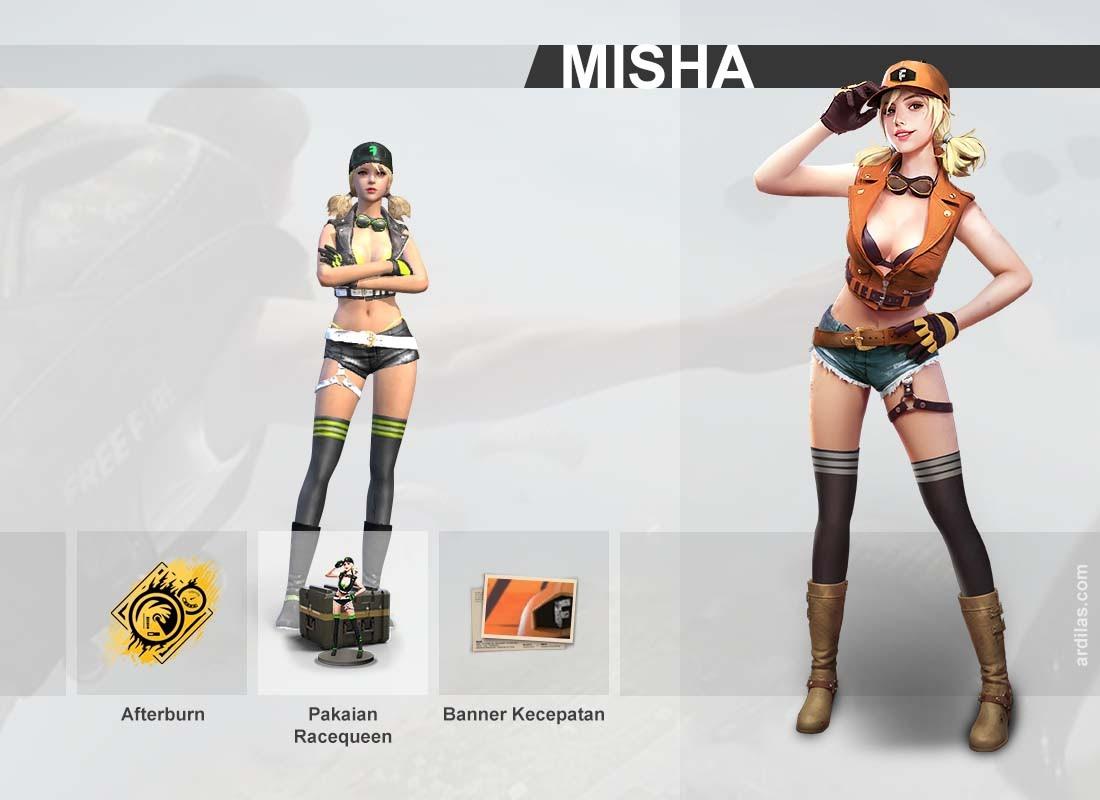 Keahlian Afterburn, pakaian Racequeen, banner Kecepatan - Misha - Karakter di Game Free Fire