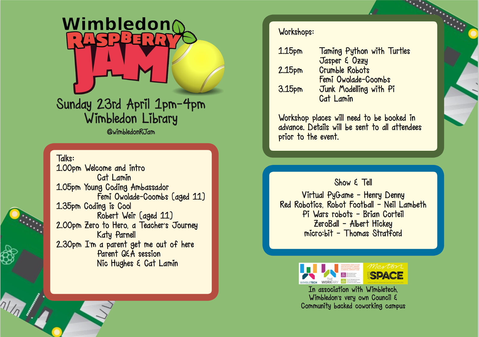 3rd Wimbledon Raspberry Jam Agenda