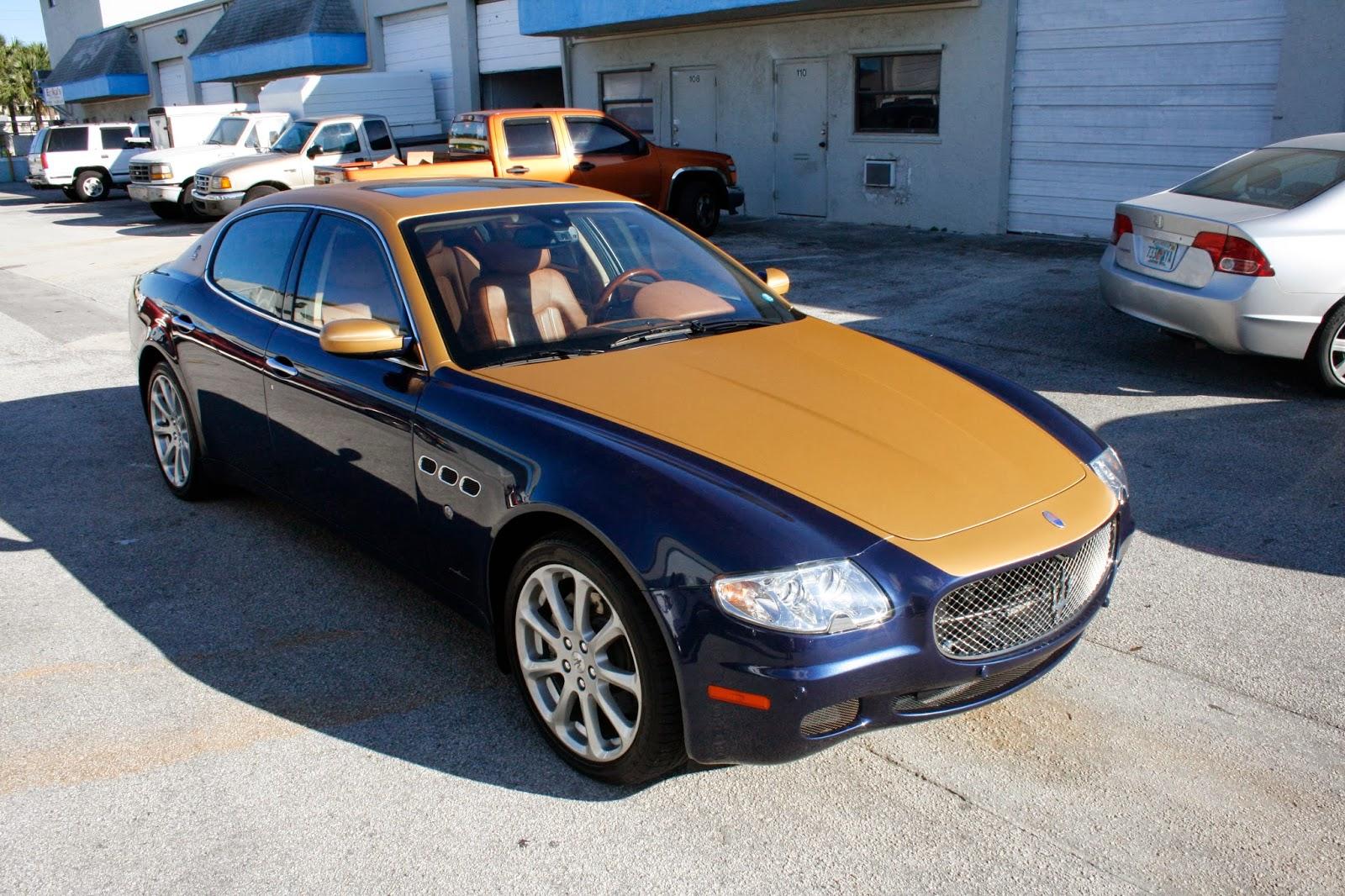Custom Maserati Two Tone 3M Brushed Gold Vinyl Car Wrap