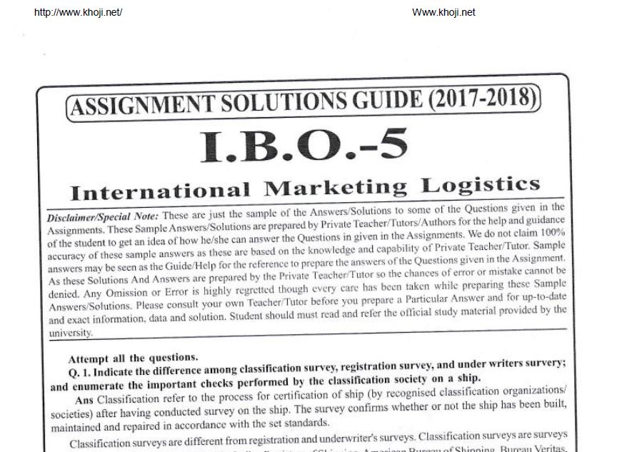 IBO-05 Solved Assignment For IGNOU MCOM 1st Year 2017-18