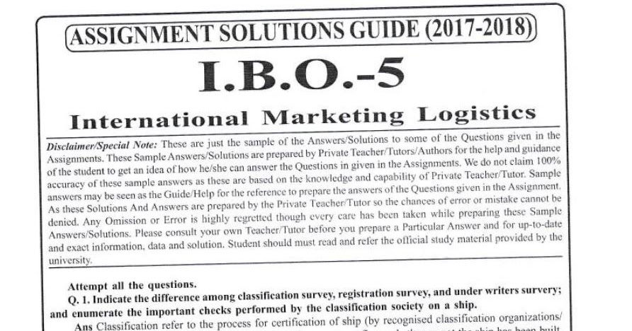 IBO-05 Solved Assignment For IGNOU MCOM 1st Year 2017-18 ...