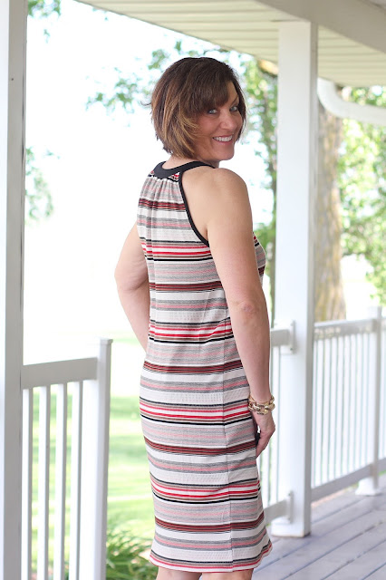 McCall's 7564 dress made from Mood Fabrics' stretch terry- side view