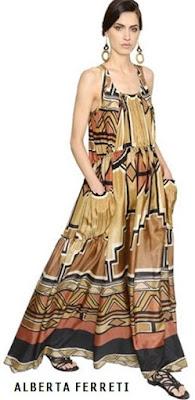 Vestido maxi en seda haboutai estampada