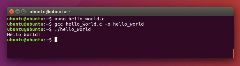 Kompilasi dan eksekusi program C di Ubuntu
