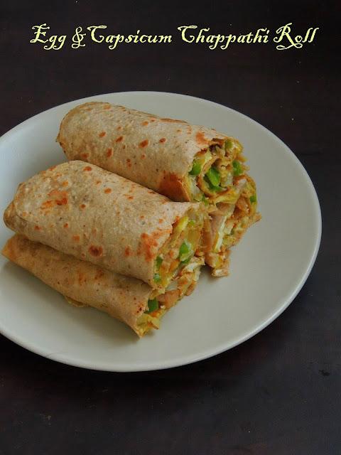 Egg &Capsicum Chappathi Roll, Egg Capsicum Wrap