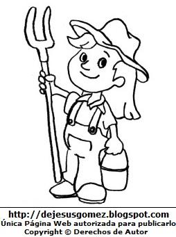 Dibujo de mujer con trabajo de granjera para colorear pintar imprimir. Dibujo de mujer de Jesus Gómez