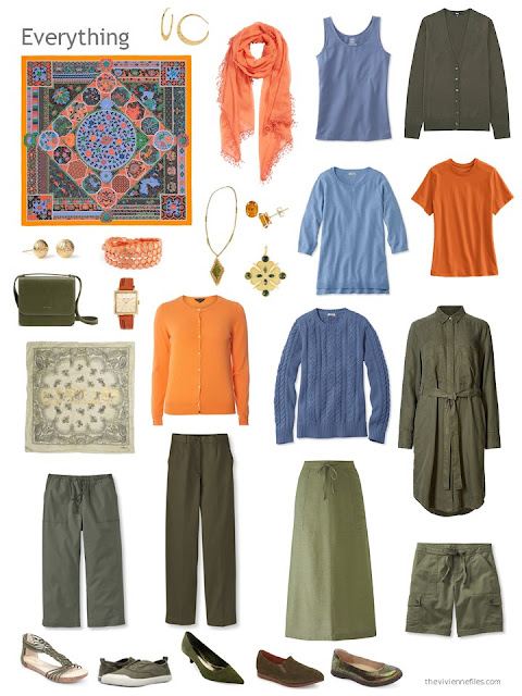 an 11-piece capsule wardrobe in olive with orange and blue