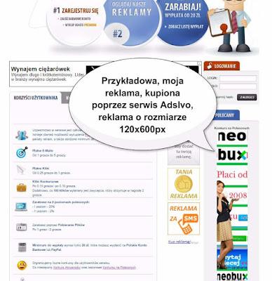 Reklama o rozmiarze 120x600px, kupiona poprzez serwis AdsIvo