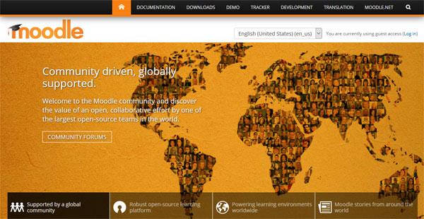 Moodle, sebuah platform e-learning gratis yang saat ini telah digunakan di 232 negara