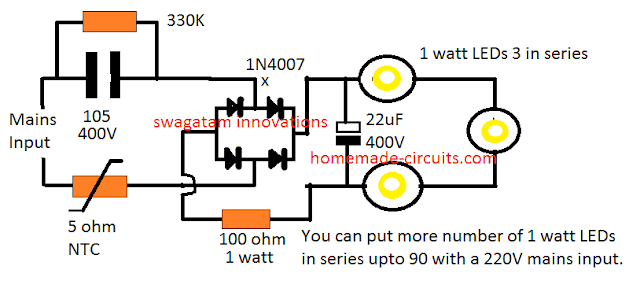 3 watt led driver using capacitive power