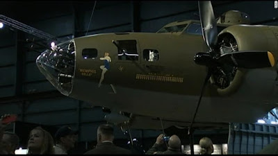"""World war II bomber """"Memphis Belle"""" restored seventy-five years after. The B-17F bomber is on display at the National Museum of the US Air Force in Ohio following a private unveiling event which also honored family members of its crew."""