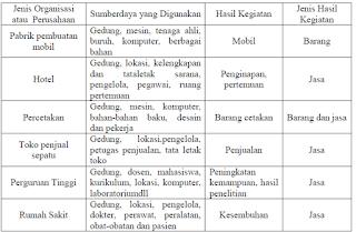 Jenis organisasi, sumberdaya yang digunakan dan hasil kegiatan