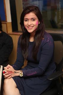 Actress Mannara Chopra Stills in Blue Short Dress at Rogue Song Launch at Radio City 91.1 FM  0052.jpg