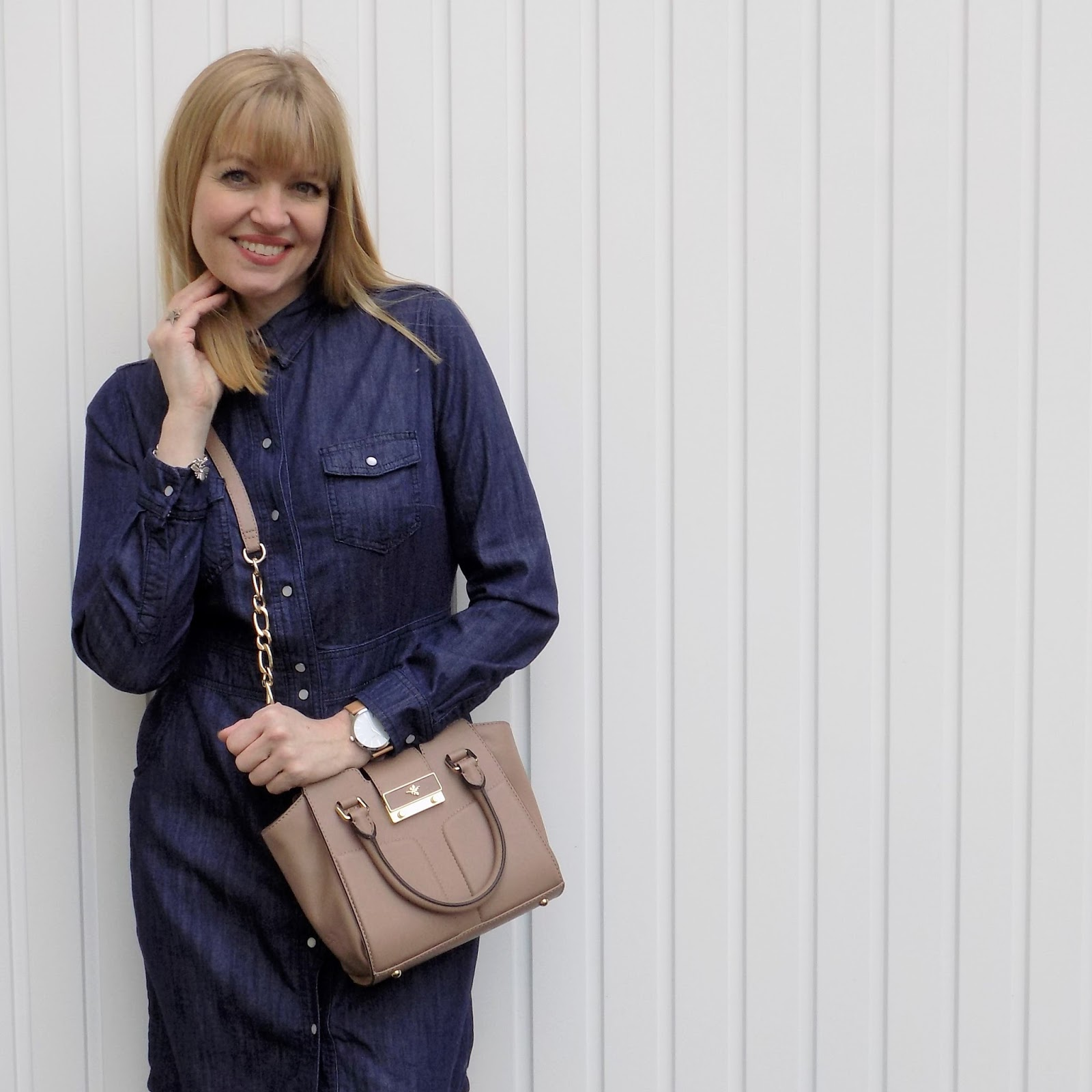 Boden denim shirt dress and brogues with Ilex Alexa bag