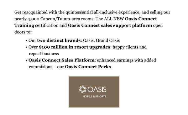 Home Based Travel Agent News: Become a Travel Agent Oasis Specialist