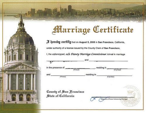 marriage san francisco certificate souvenir pickle martini
