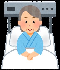 いろいろな表情の入院中の人のイラスト(おばあさん・笑顔)