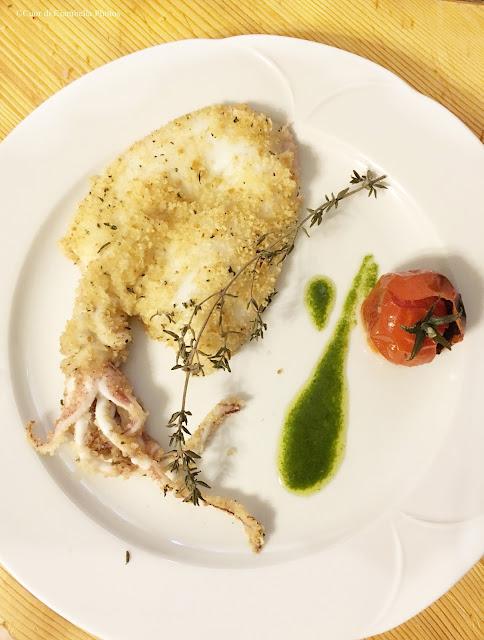 Calamari al forno con Emulsione al Basilico e Pomodori Appassiti