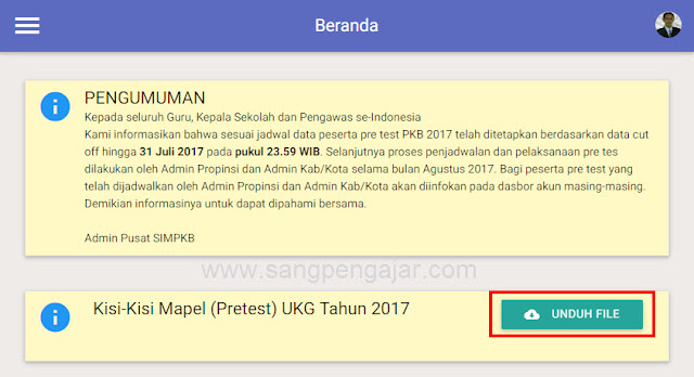 Download Kisi-kisi Pretest UKG 2017