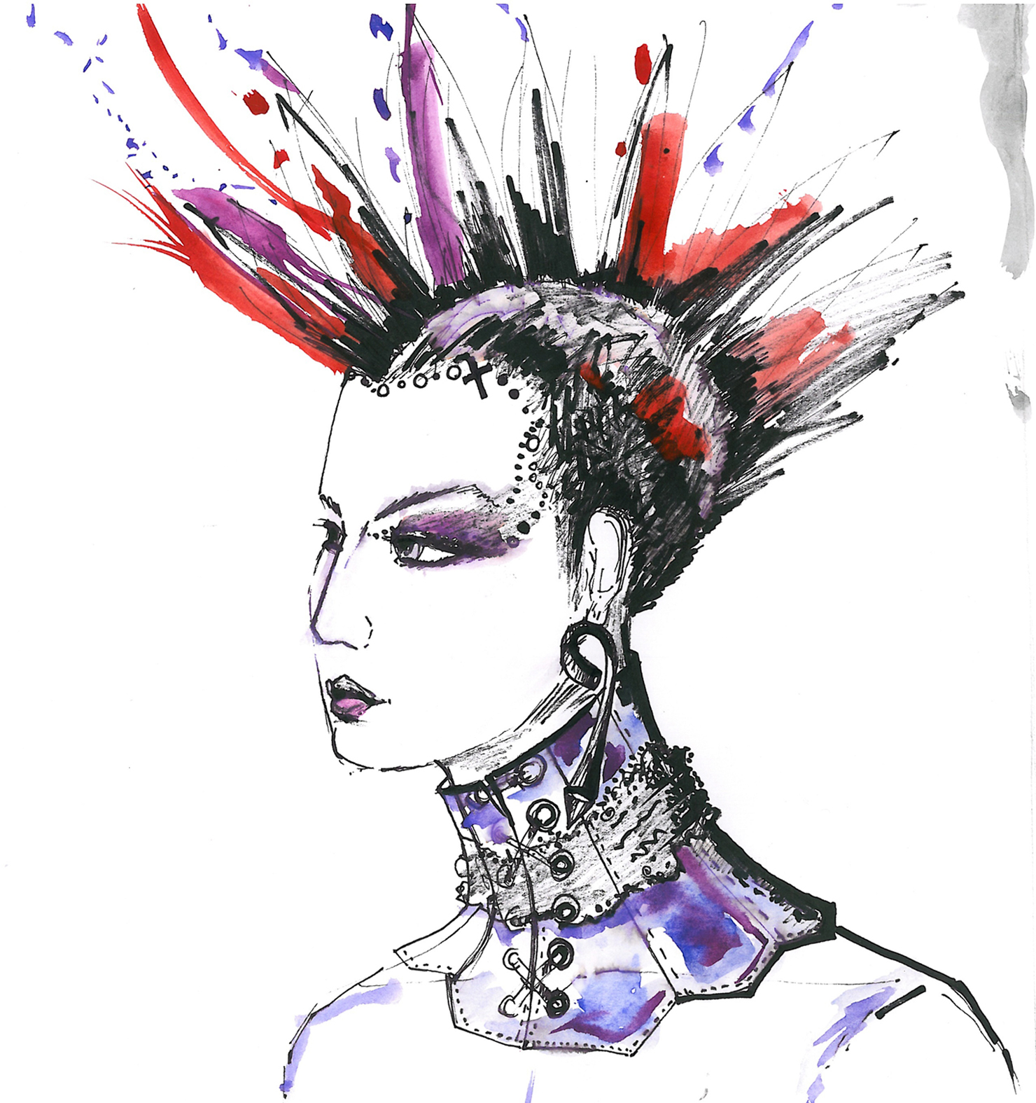 Goth-Punk Fashion Illustration