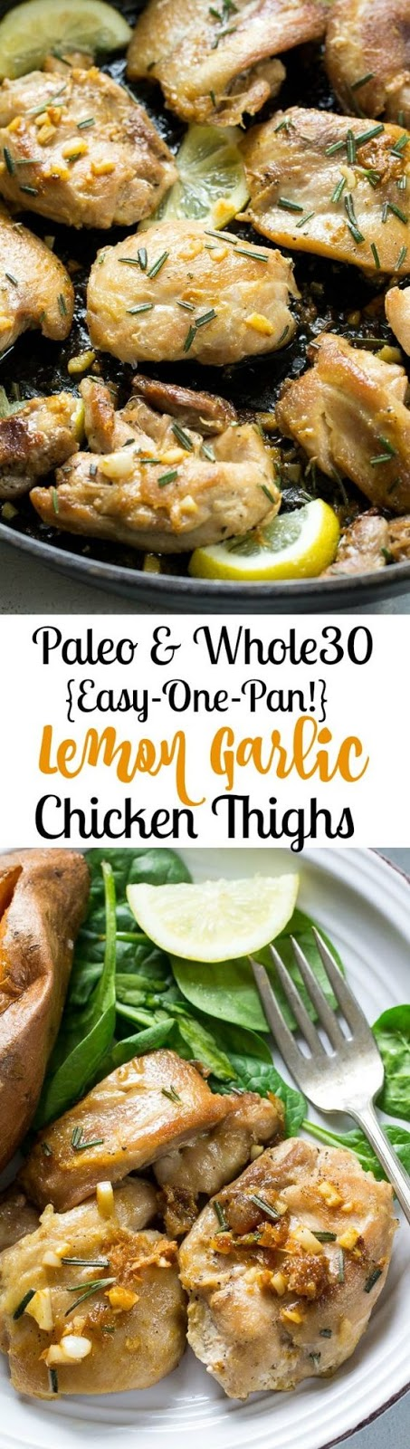 Easy Lemon Garlic Chicken Thighs {Paleo & Whole30}