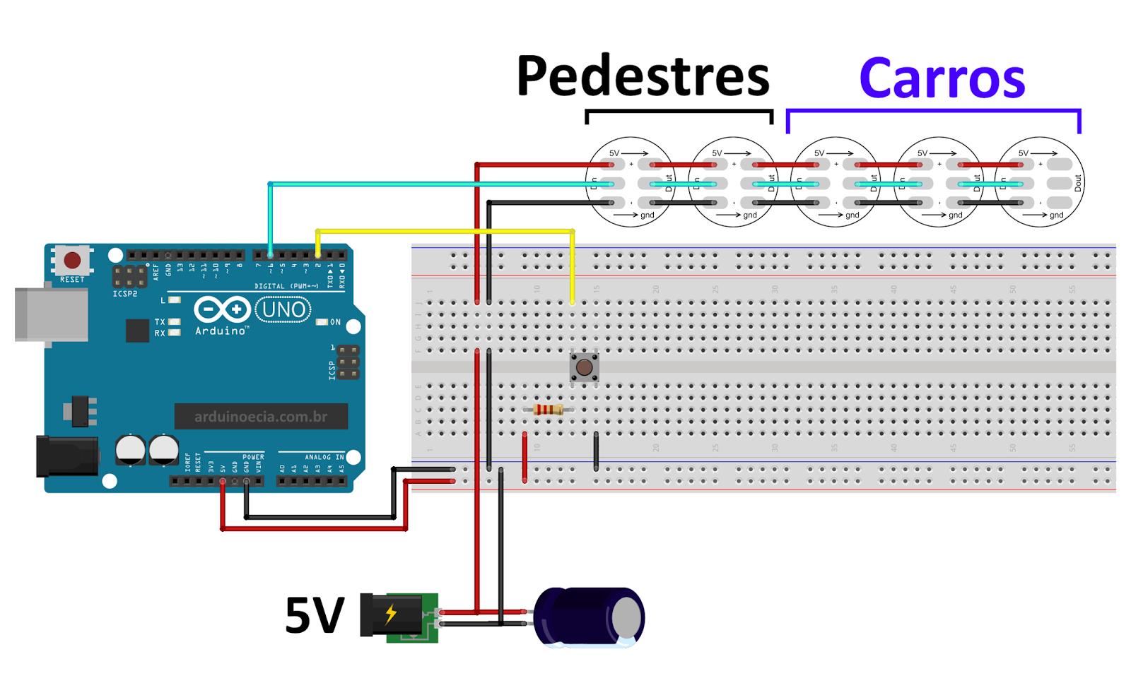Circuito Arduino Uno - Leds endereçáveis WS2812B