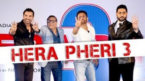 Complete cast and crew of Hera Pheri 3 (2016) bollywood hindi movie wiki, poster, Trailer, music list - Paresh Rawal, John Abraham, Abhishek Bachchan, Sunil Shetty Movie release date 2016