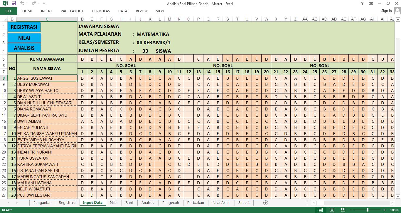Aplikasi Analisis Soal Pilihan Ganda Dengan Excel Revisi Guru