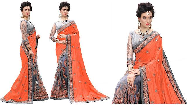 UJJWAL CREATION Printed Bollywood Art Silk, Net Saree  (Orange, Grey)