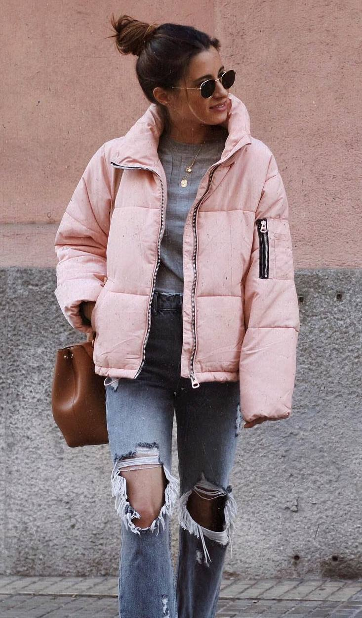 how to style a pink jacket : top + ripped jeans + bag