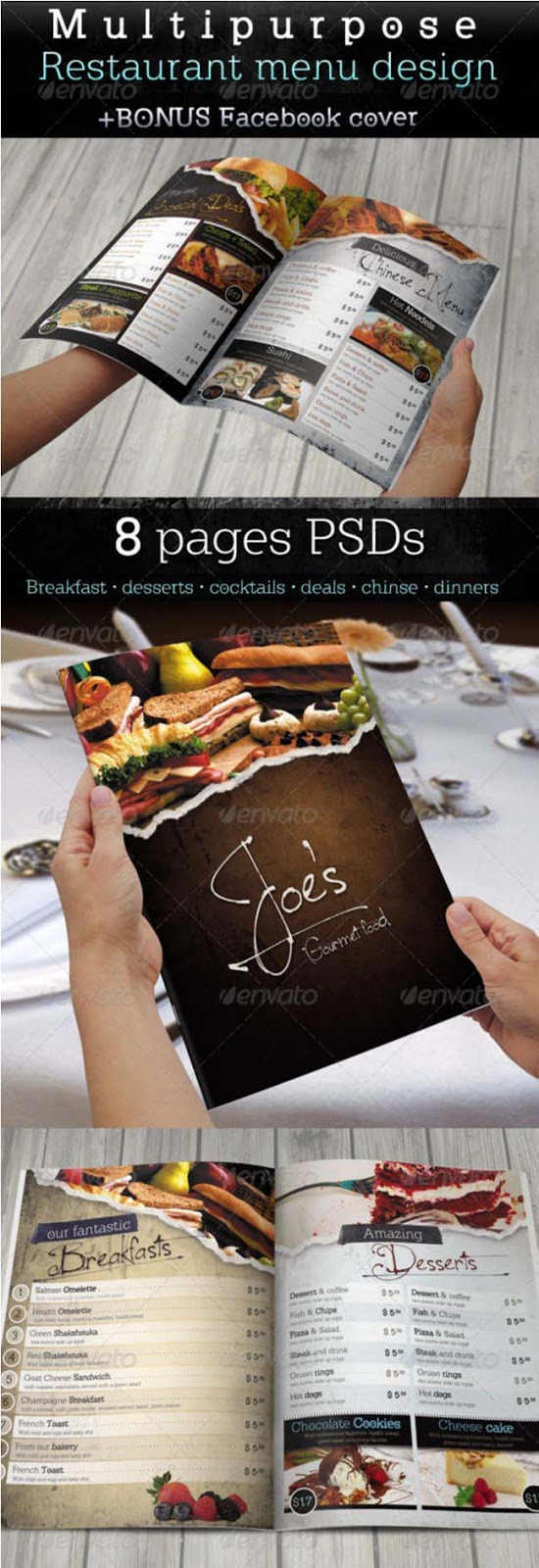 Restaurant Food Menu Templates InDesign PSD Designsmagorg - Free pages menu template