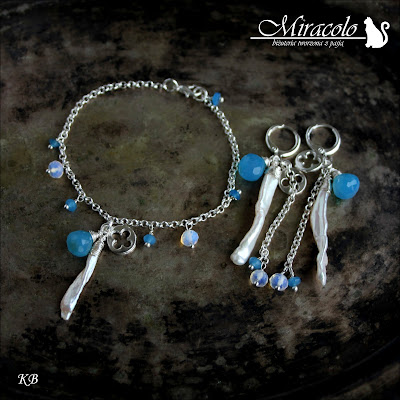 Miracolo, komplet z perłami, chalcedonami i opalitami, perły Biwa, cebulki chalcedonu, opalit, pearl and chalcedony set