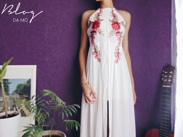 white max dress whit roses zaful