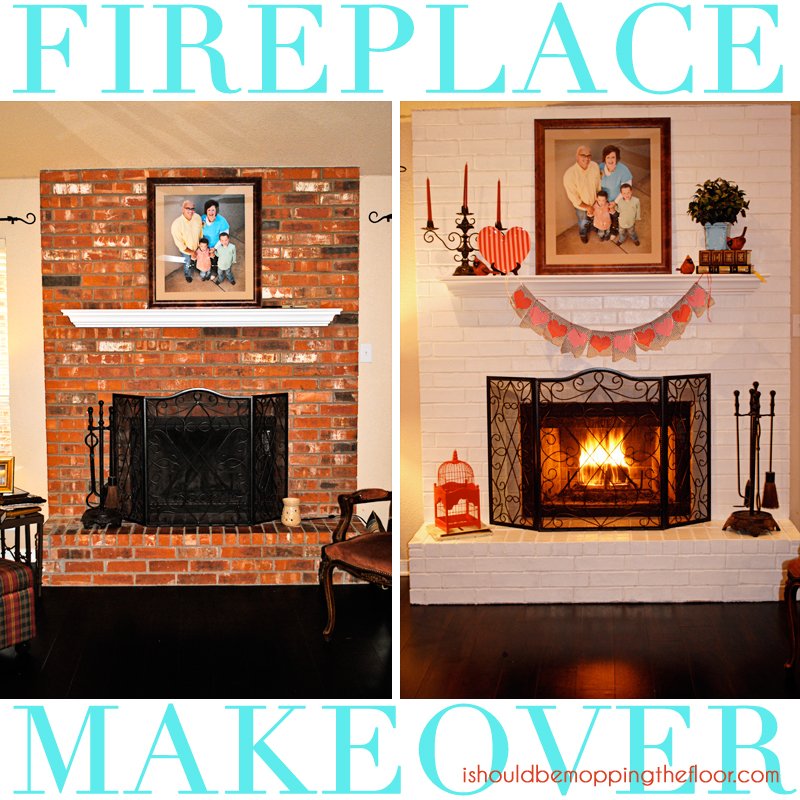 Fireplace makeover in a day i should be mopping the floor - Red brick fireplace makeover ...