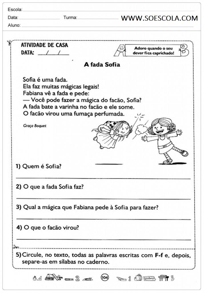 Atividades de interpretação de texto para 2º ano para imprimir