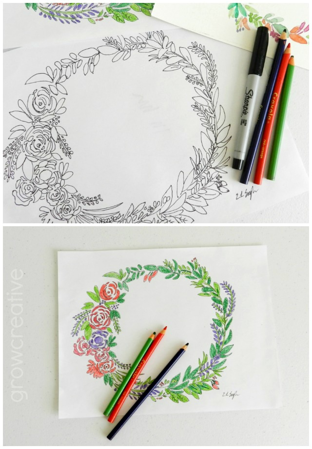 Free Floral Wreath Coloring Page: grow creative blog