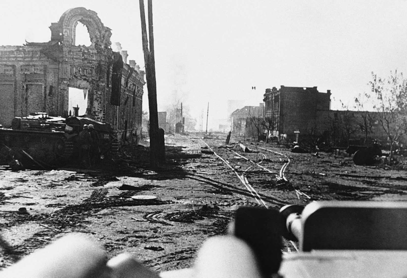 Ruins of part of the city of Stalingrad, on November 5, 1942, following huge battles, with wrecked shells of buildings on either side.
