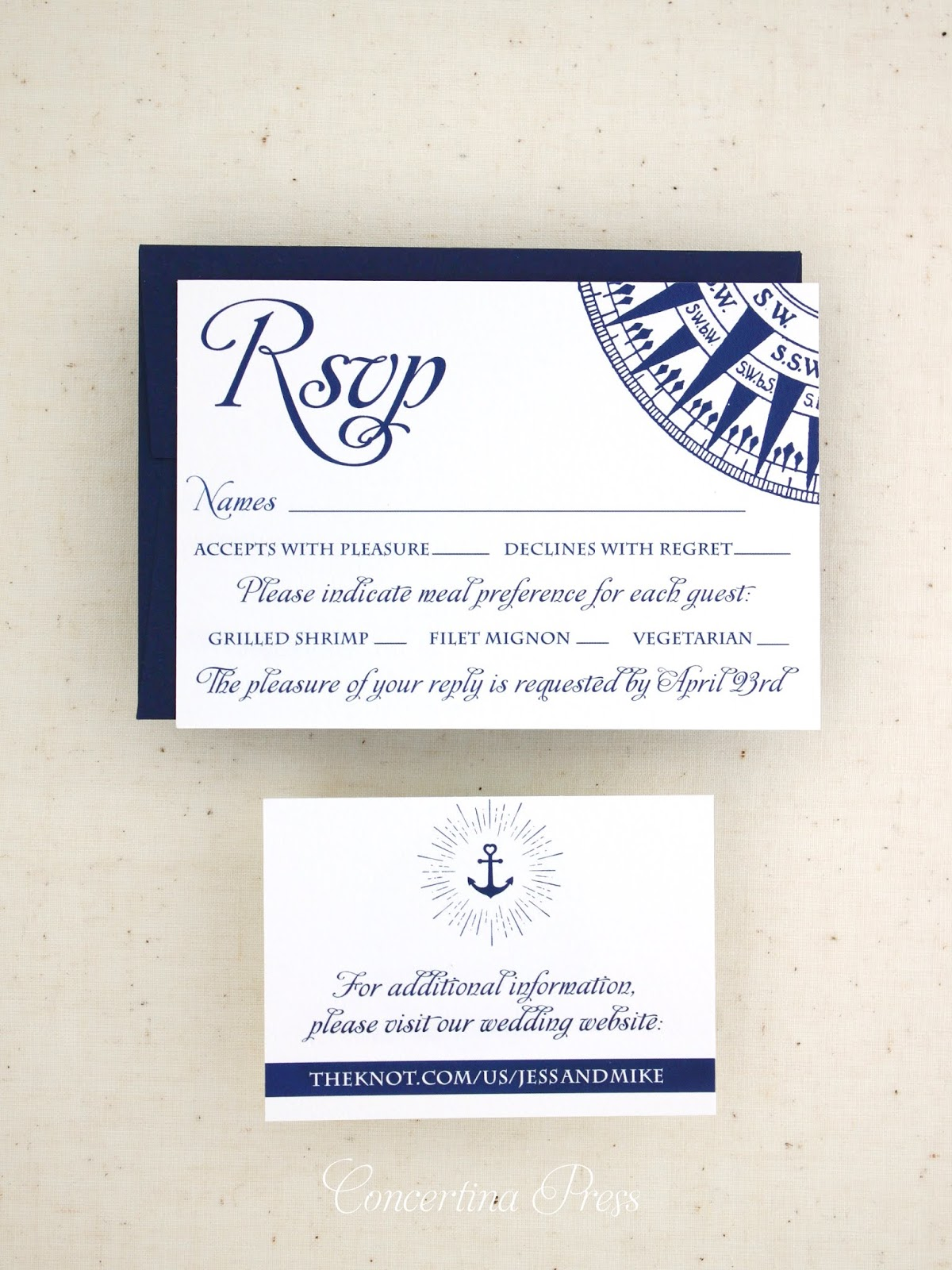 Nautical Compass Wedding RSVP and website card from Concertina Press in Navy Blue and White
