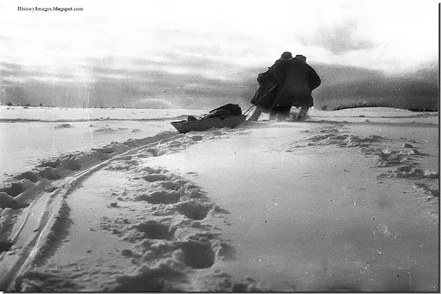 Red Army soldiers pull a wounded comrade to safety