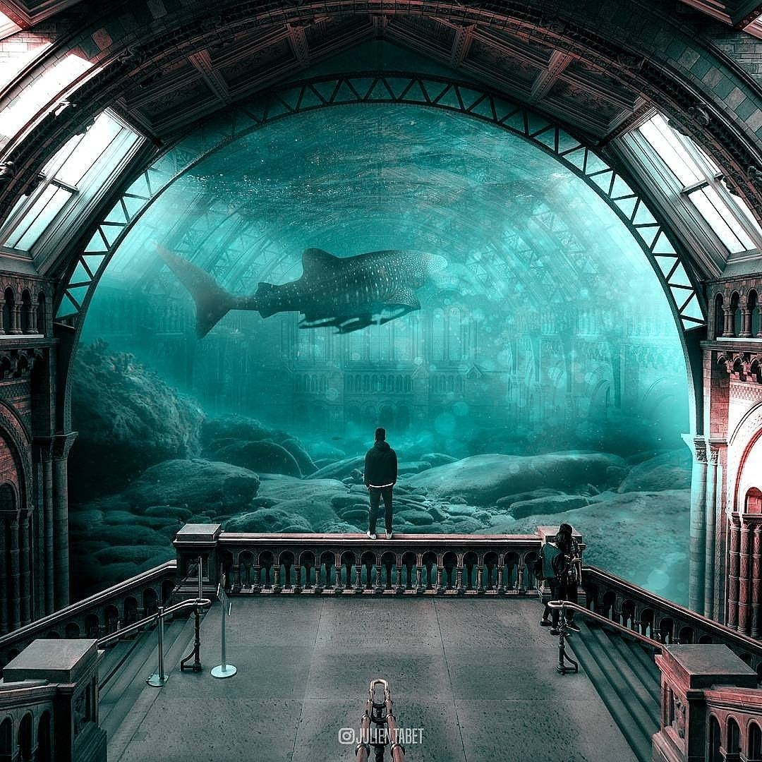 02-At-the-Museum-Julien-Tabet-Animals-and-Architecture-Photoshopped-Surrealism-www-designstack-co
