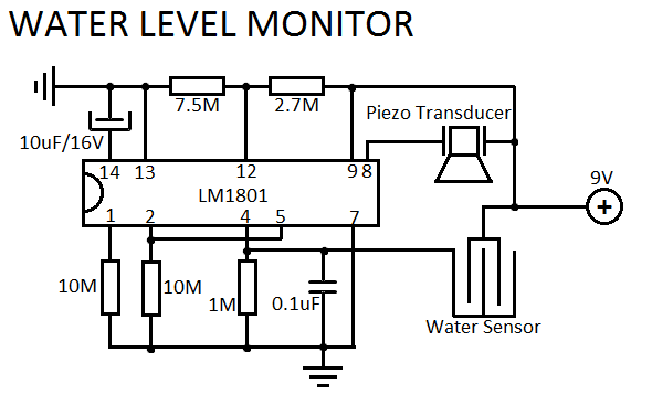 water level indicator build circuit