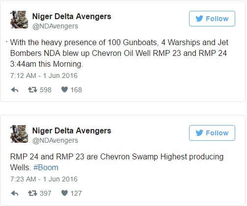 BREAKING: Niger Delta Avengers bomb Chevron oil wells again