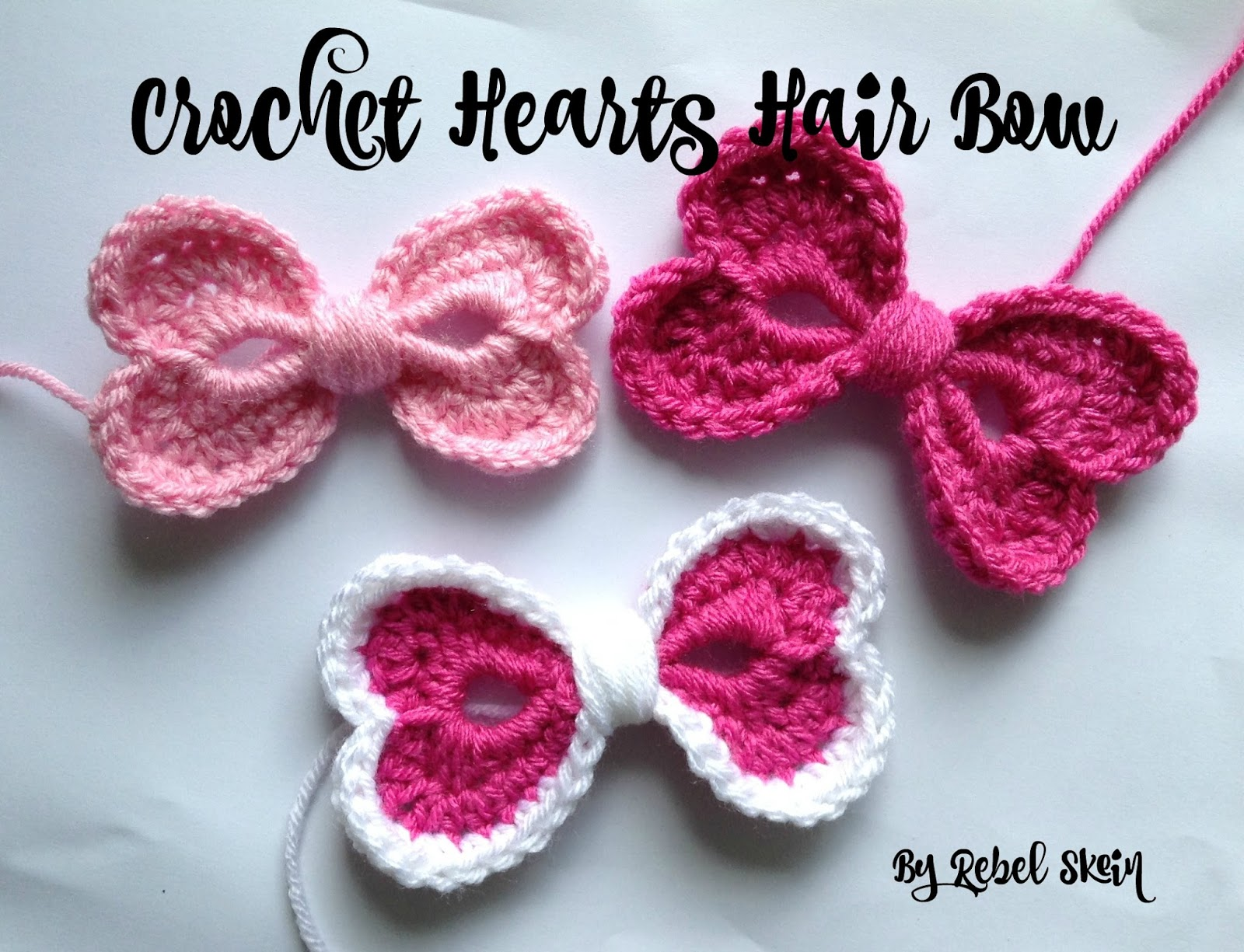Rebel Skein Crochet Hearts Hair Bow