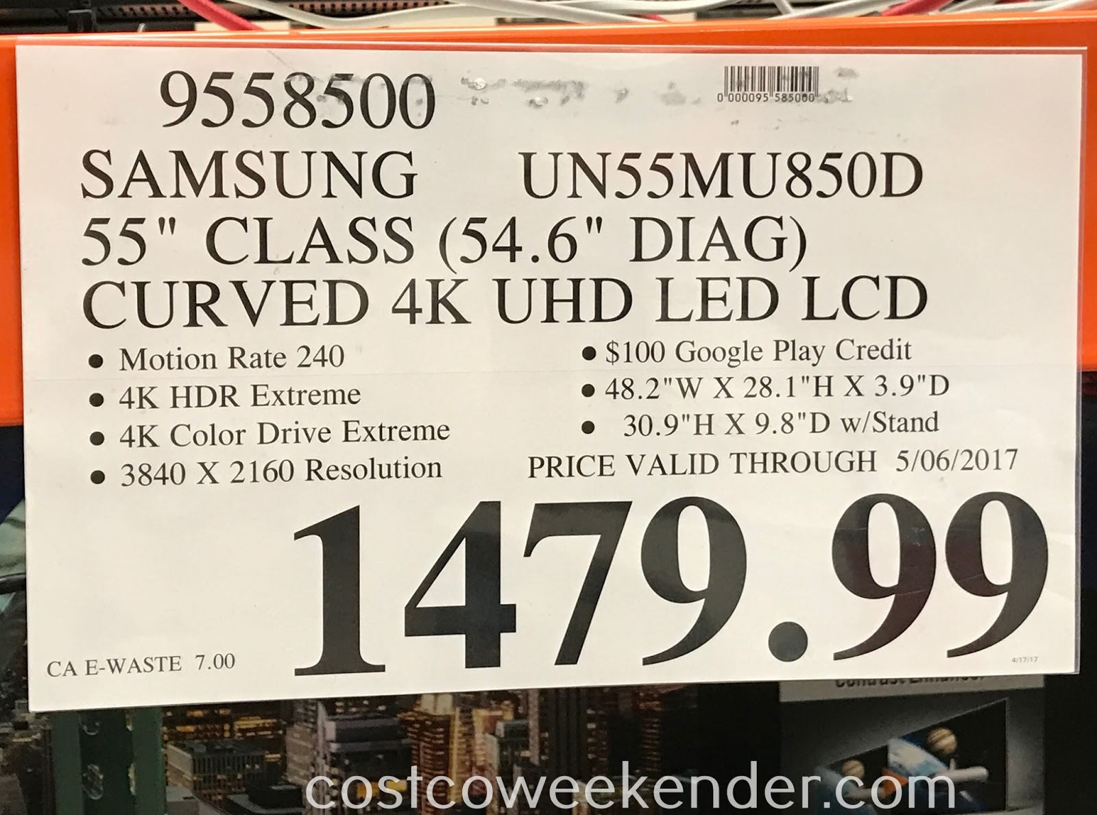 Deal for the Samsung UN55MU850D 55 inch Curved 4K UHD LED LCD TV at Costco