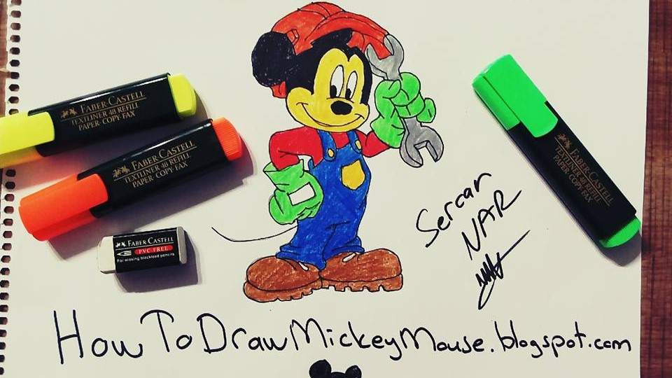 how to draw mickey mouse step by step slowly