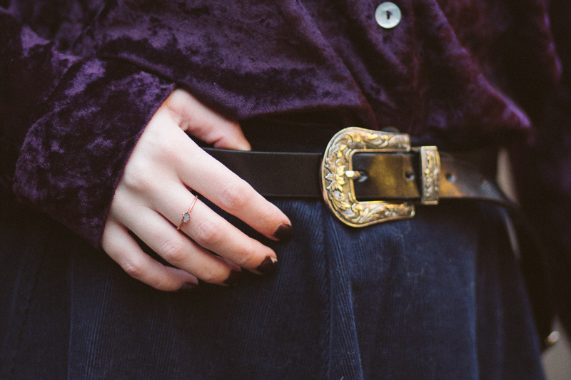 The Crushed Velvet Shirt OOTD Crystal Copper Ring
