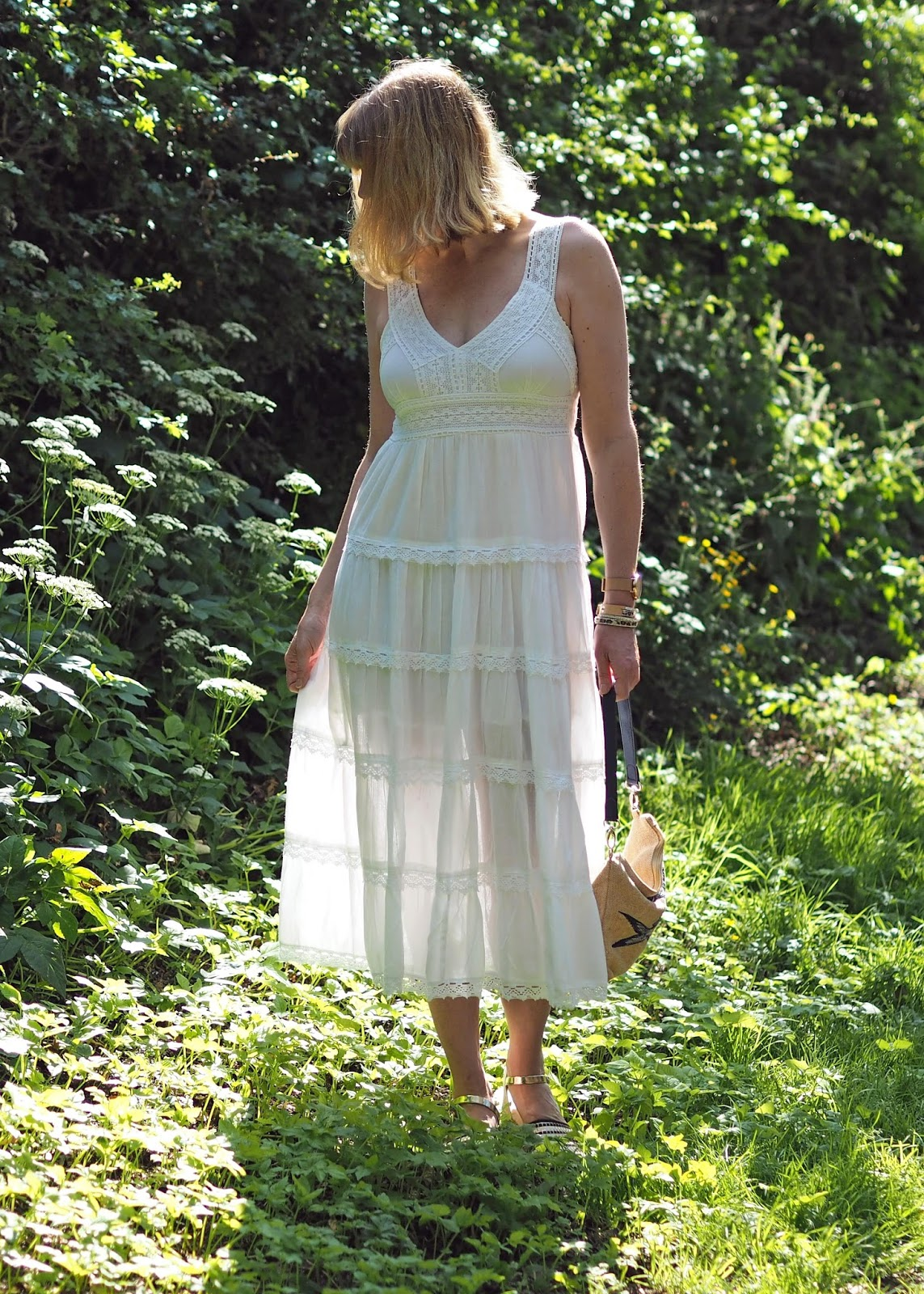 white lace midi dress with espadrilles
