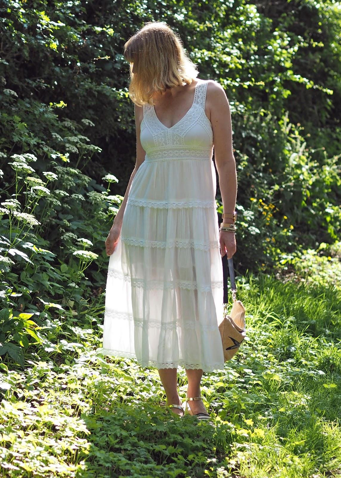 white lace midi dress with espadrilles