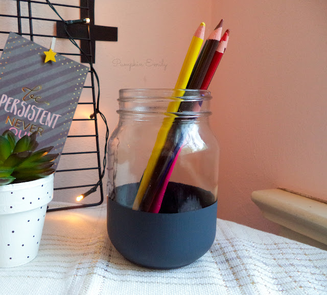 DIY Striped Mason Jar