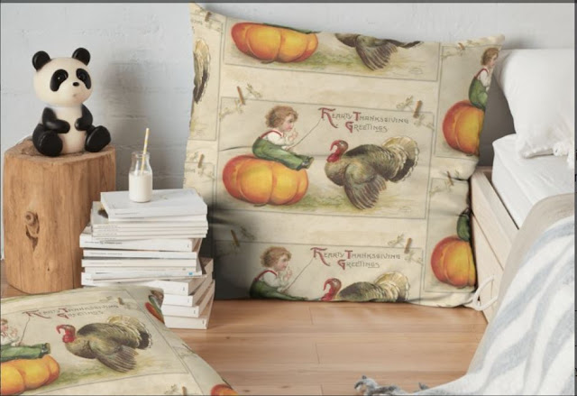 Adorable Child Sitting on a Thanksgiving Pumpkin Tempting a Tom Turkey on Pillow
